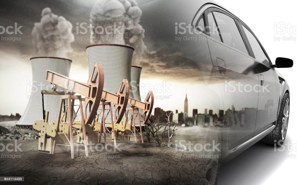 Double Exposure concept of pollution of the environment by the automotive industry 3d render on white background stock photo
