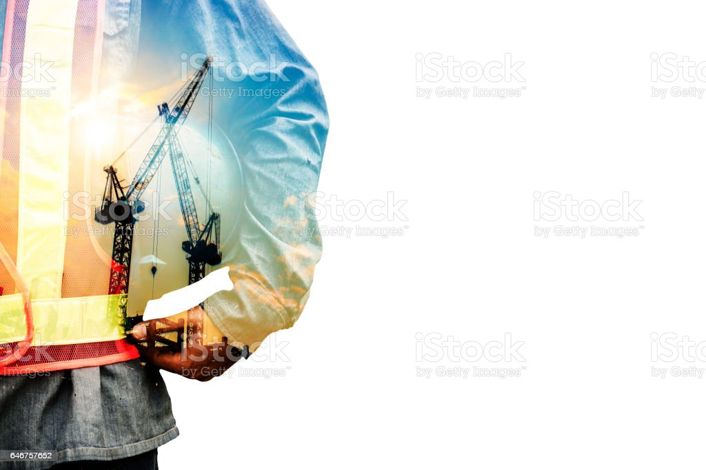 Double exposure concept with worker stock photo