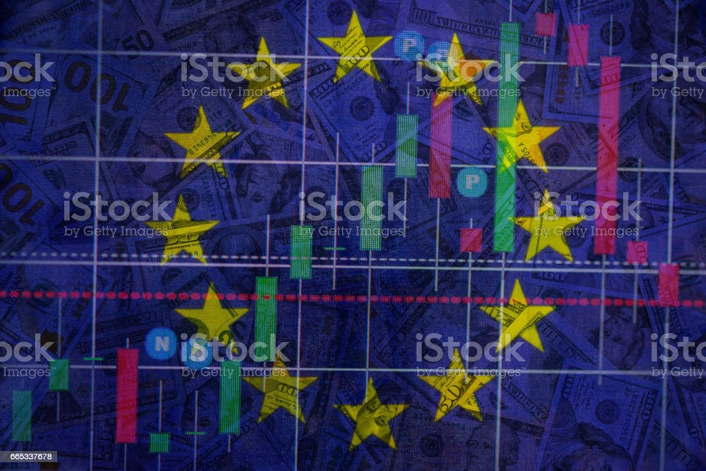 Double exposure dollar bills on forex market chart. stock market financial concept. stock photo