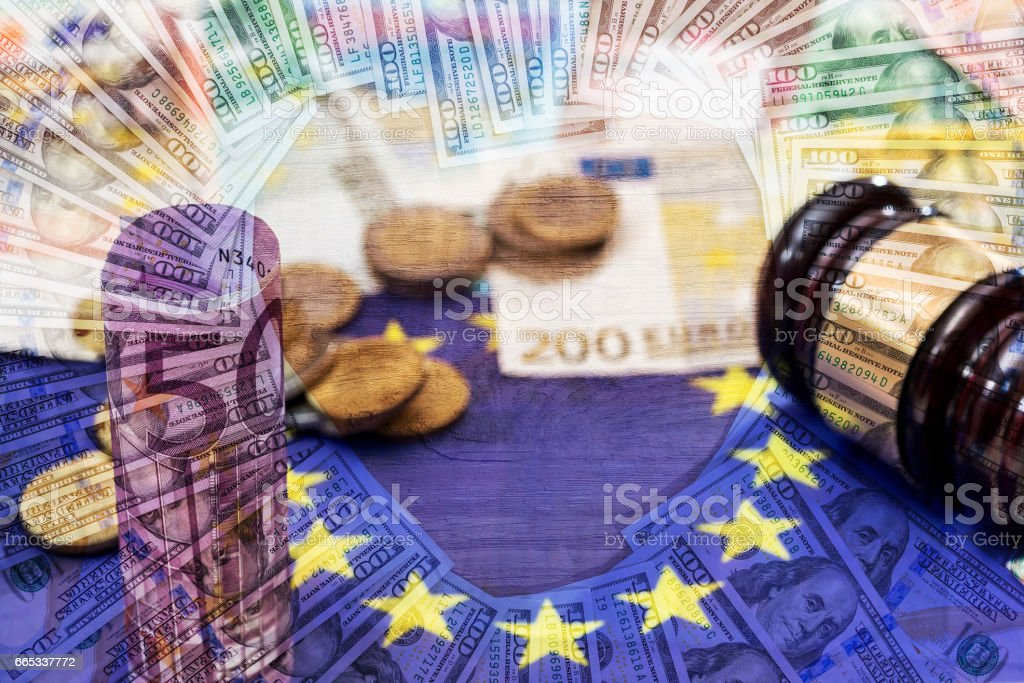 double exposure dollar vs euro as background stock photo