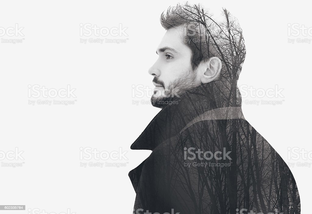 Double exposure fashion elegant bearded free man stock photo