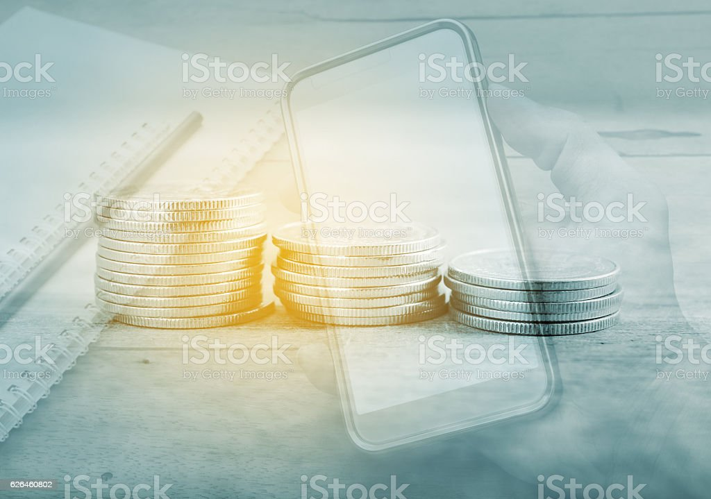 Double exposure for account banking and finace stock photo