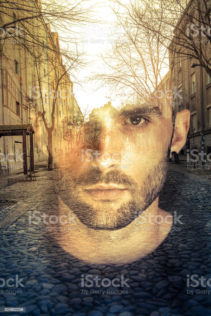 Double exposure image of man, imagination concept stock photo