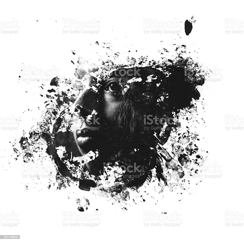 Double exposure image of woman's face within a splatter form vector art illustration