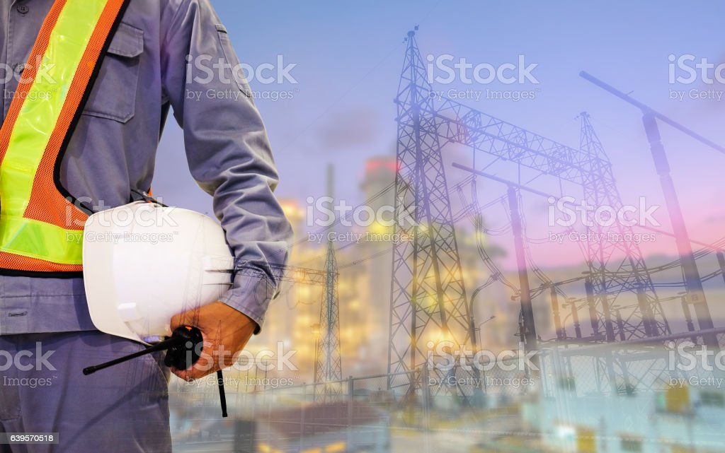 Double exposure mechanical engineer or civil engineer stock photo