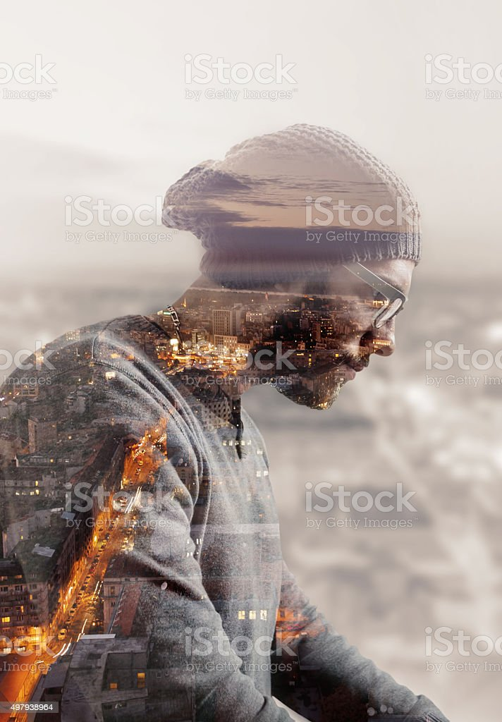 Double exposure of a man stock photo
