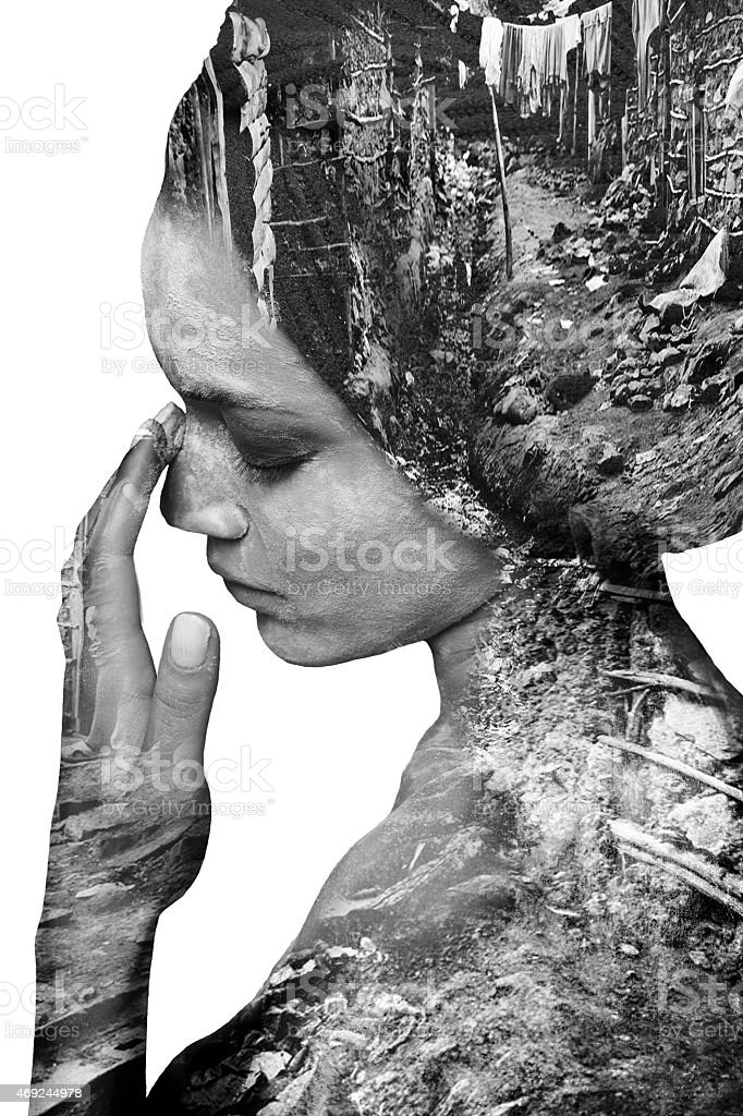 Double exposure of beautiful girl and leaves monochrome image stock photo