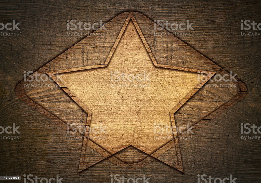 Double exposure of brown wooden star with rhombus and frame stock photo