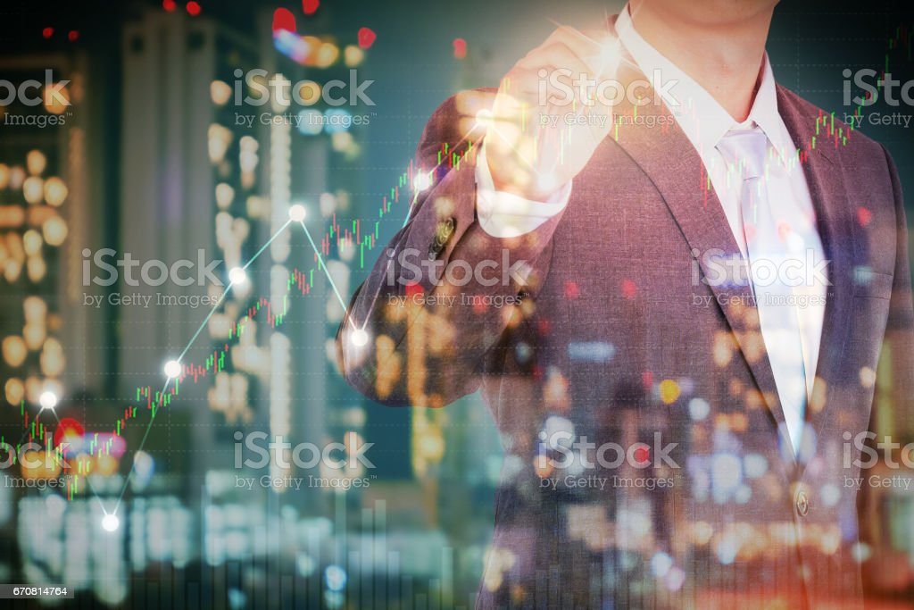 Double exposure of business man and the city light, Financial growth concept. stock photo