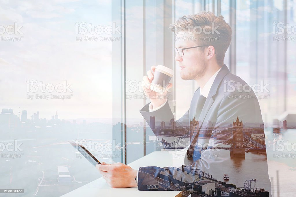 double exposure of business man in London stock photo