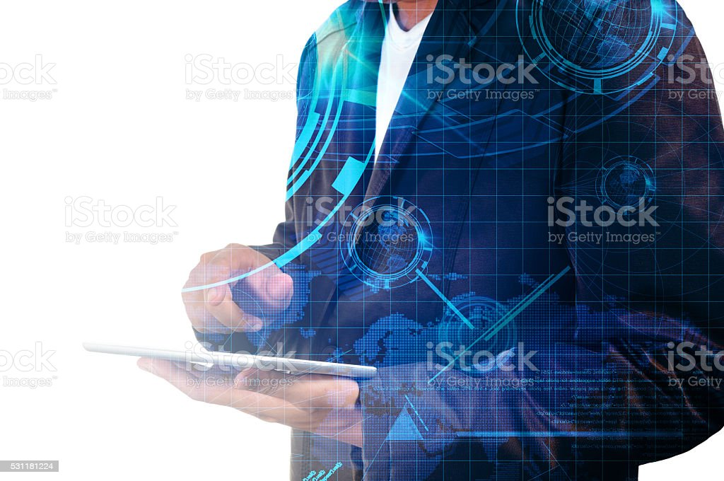 Double exposure of Business Man use Mobile Tablet with Earthglob stock photo