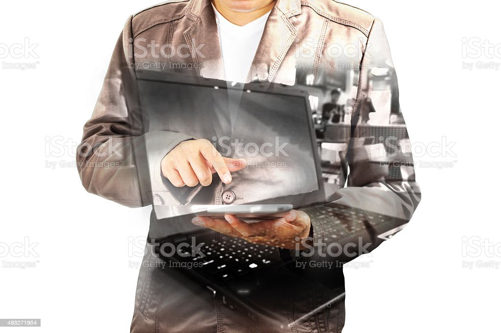 Double exposure of Business Man using Mobile Tablet PC stock photo