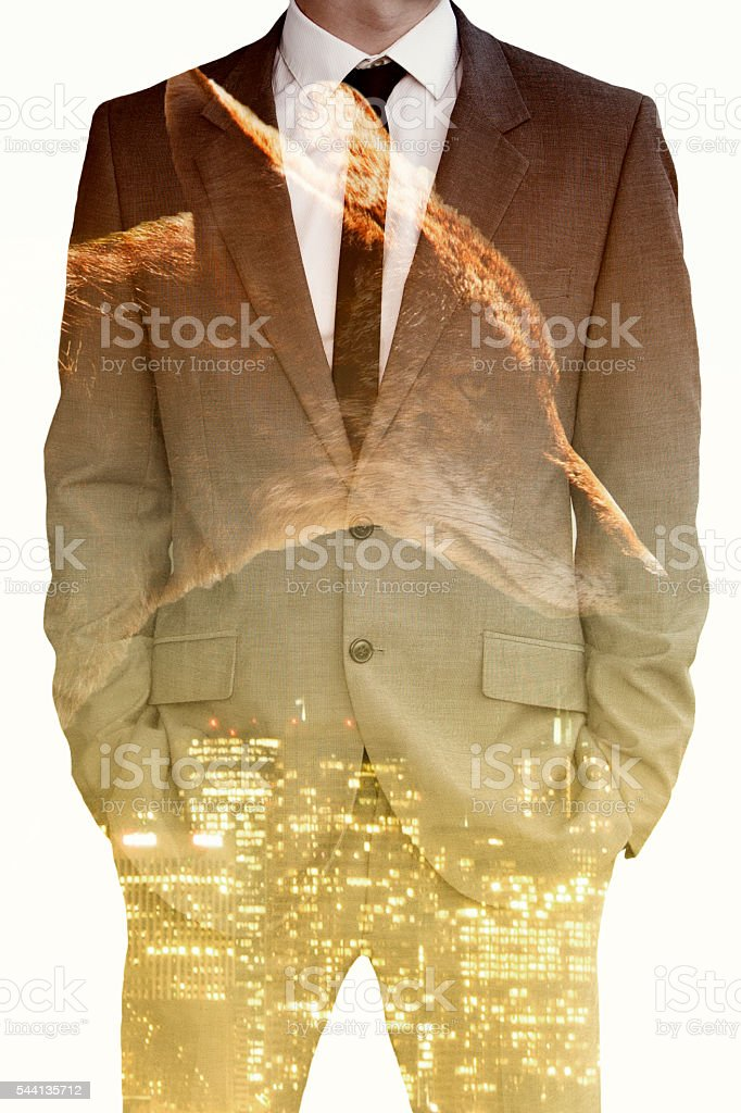 double exposure of businessman , coyote and cityscape stock photo