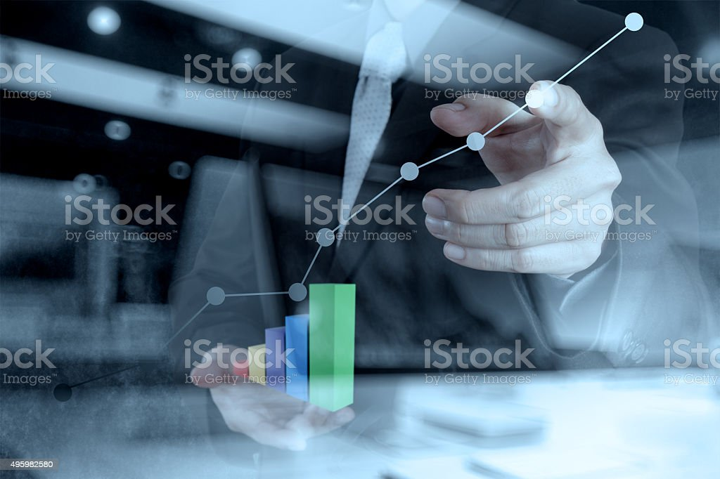 double exposure of businessman hand working stock photo
