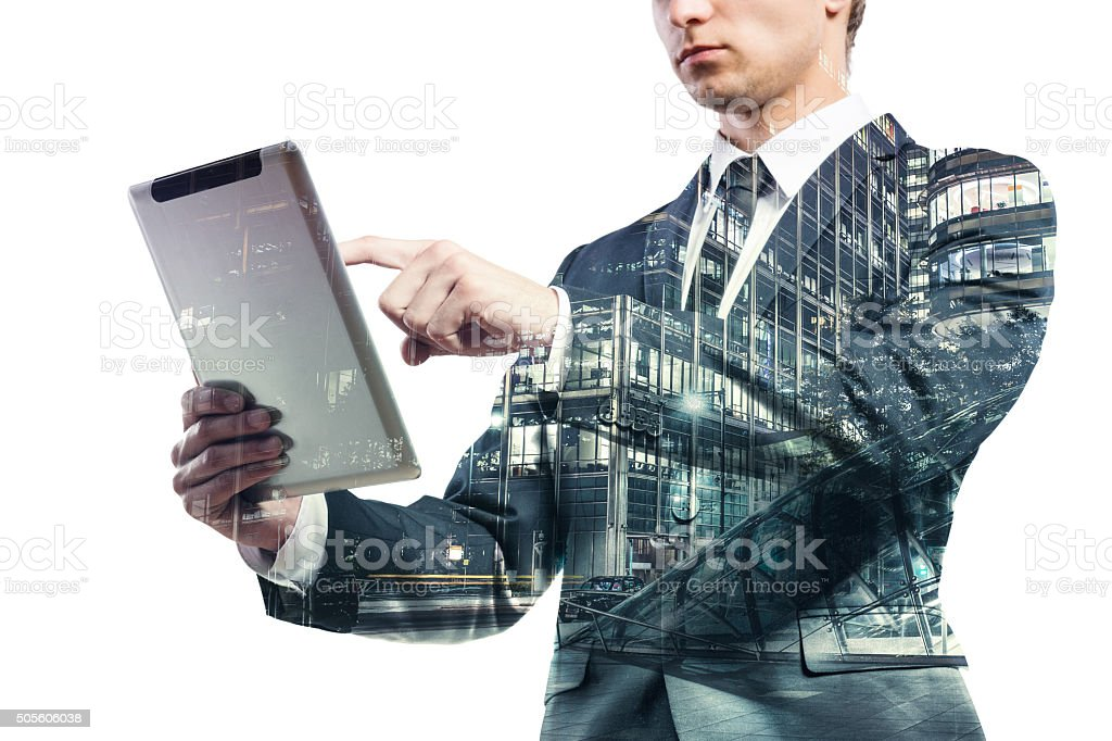 Double exposure of businessman. stock photo