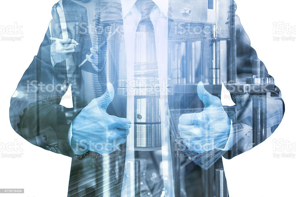 Double exposure of businessman with Industrial equipment stock photo