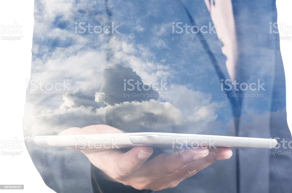 Double Exposure of Businessman with Wireless Tablet Device and C stock photo