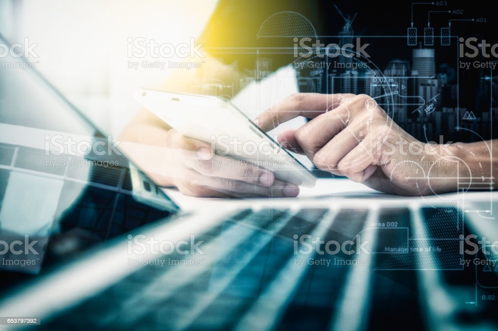 Double exposure of businesswomen using smart phone with blur city day and night and connection network and business concept, copy space, mock up. stock photo