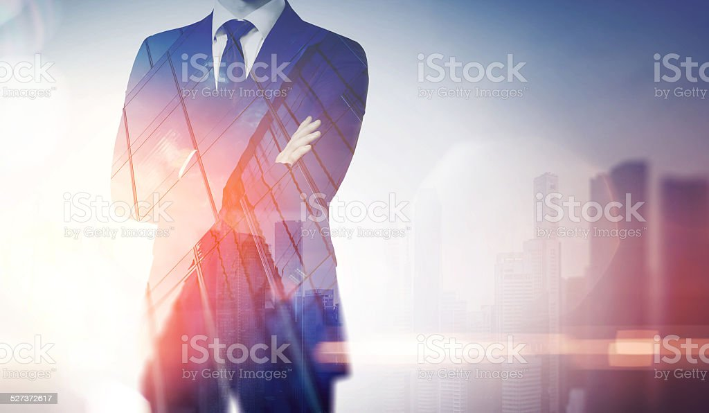 Double exposure composition of city and business man