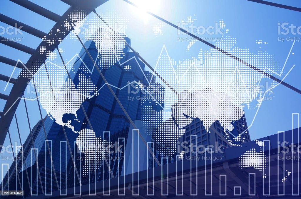Double exposure of city and financial graph chart, network and world map. by Nasa stock photo