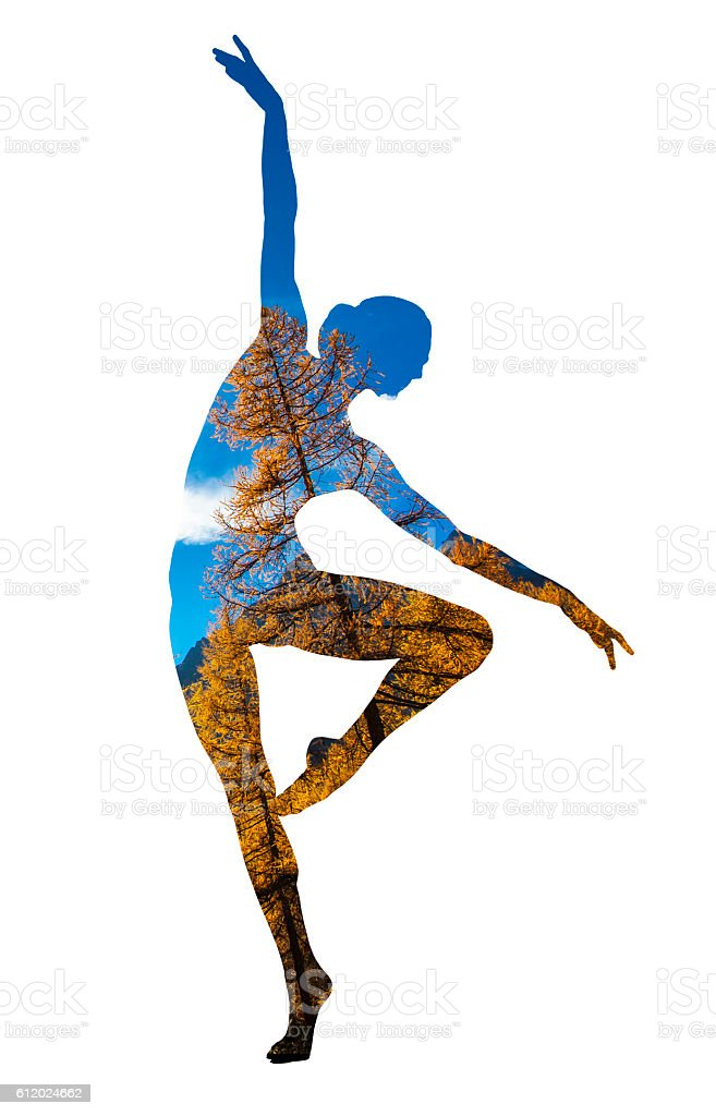 Double exposure of classical dancer and autumn trees stock photo