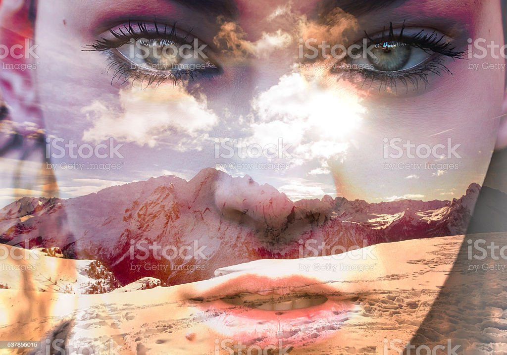 Double exposure of closeup girl portrait and mountainscape stock photo