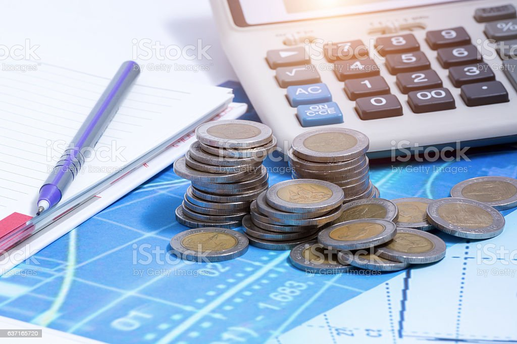 Double exposure of coins for finance and banking concept stock photo