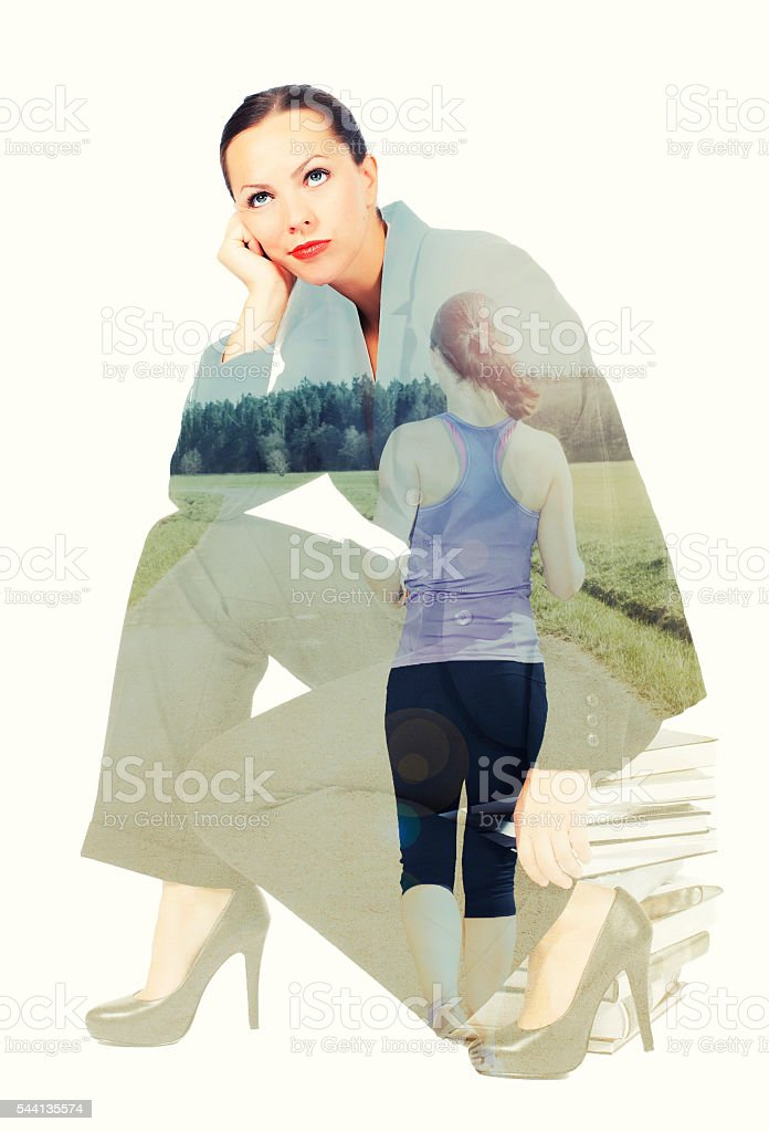 double exposure of exhausted woman and woman running stock photo