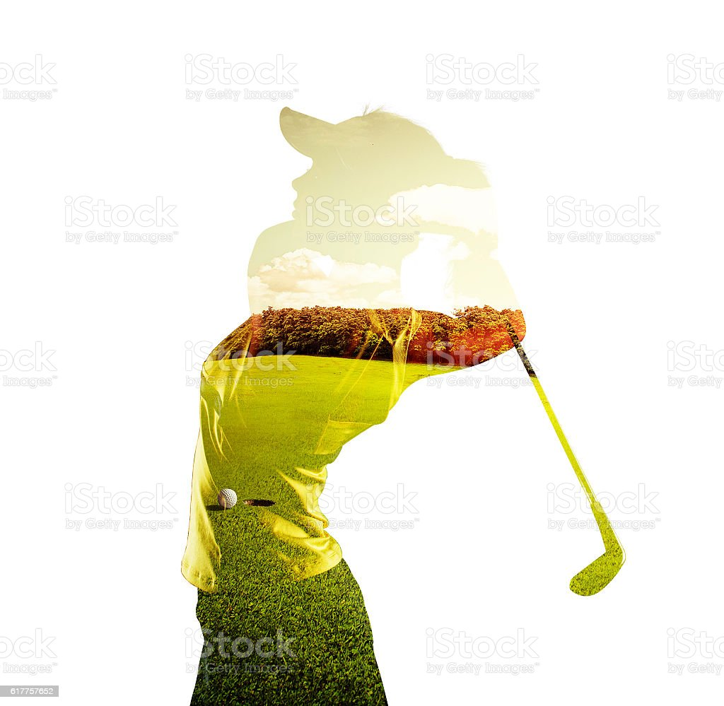 Double exposure of golf player and field stock photo