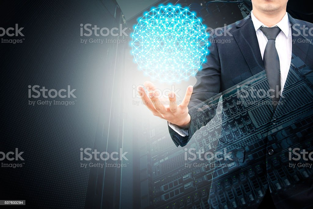 Double exposure of hand businessman and servers technology stock photo
