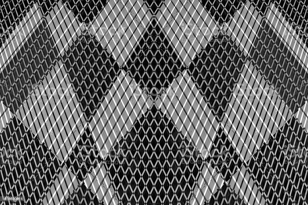 Double exposure of industrial metal panel wall. Abstract architectural background. stock photo
