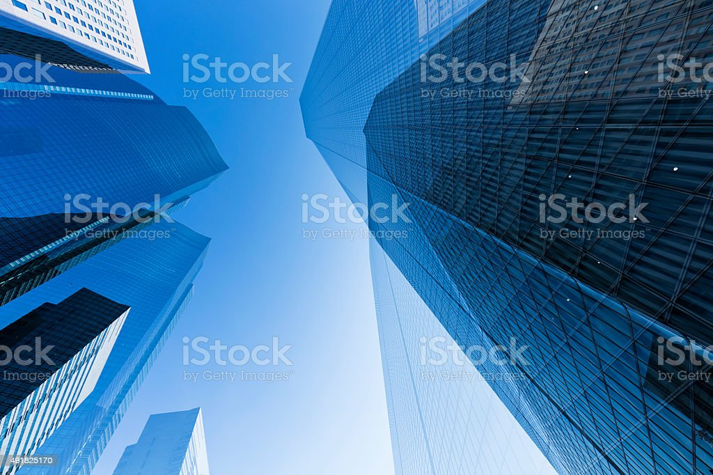 Double Exposure of Office Buildings stock photo