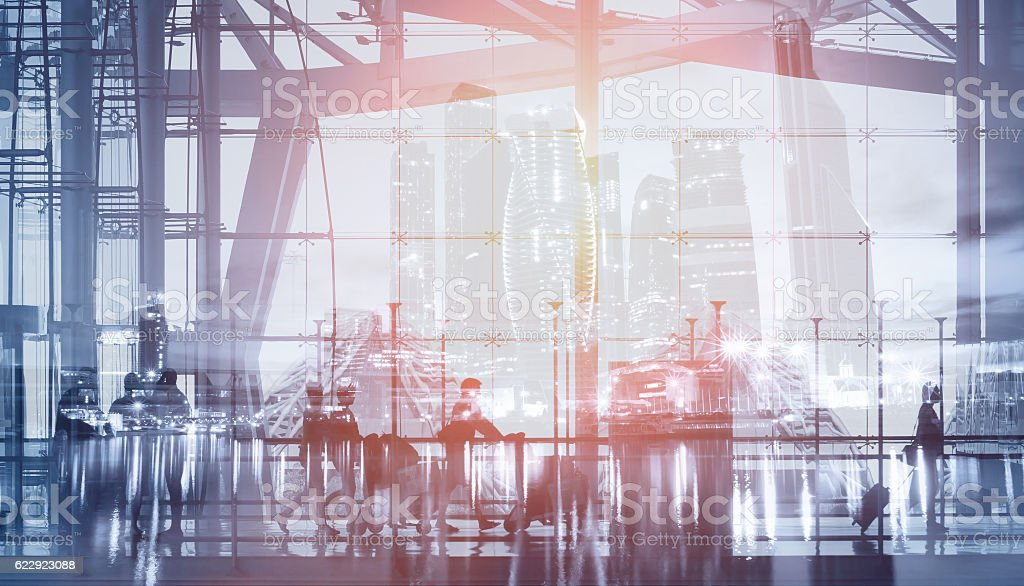 double exposure of people walking in airport stock photo