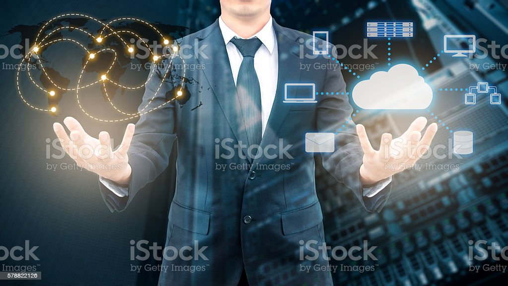 Double exposure of professional businessman holding wolrd network stock photo
