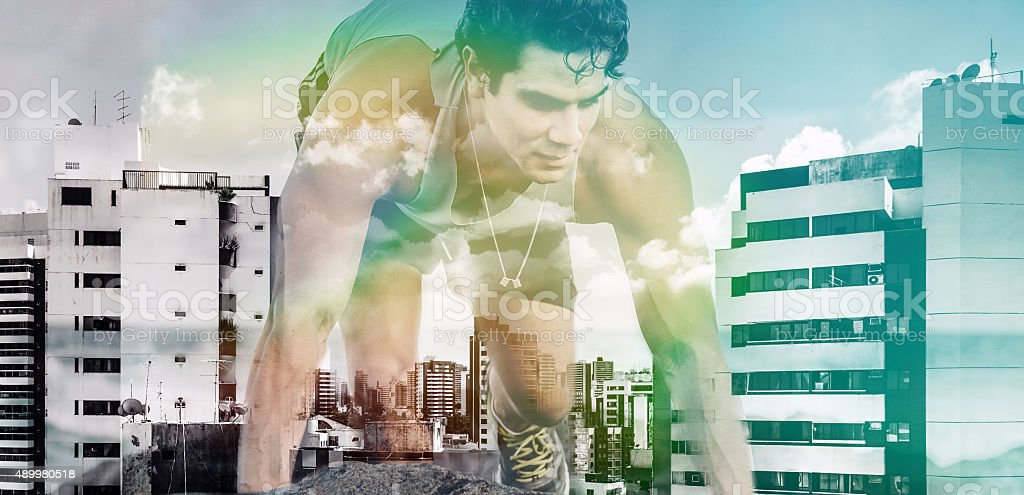 double exposure of sportsman in modern city stock photo
