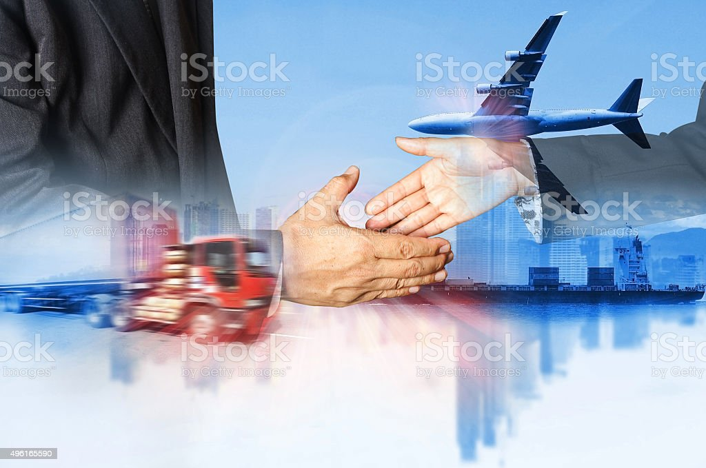 Double exposure of success businessman shipping business industry stock photo