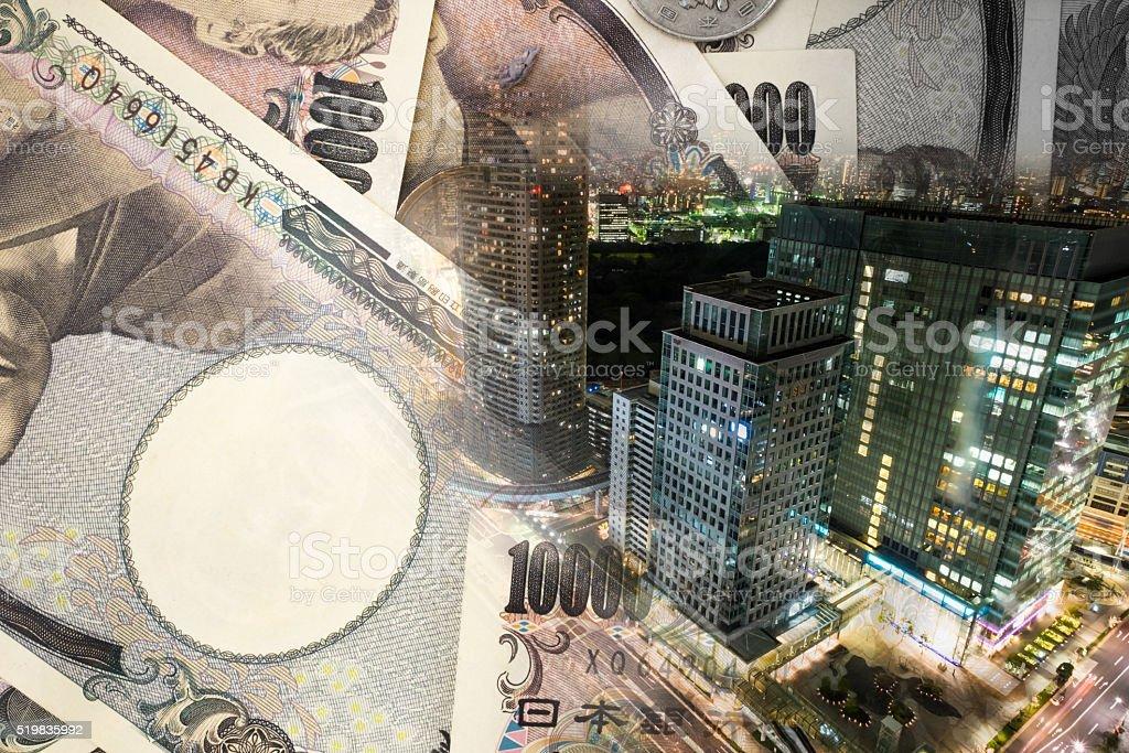 Double exposure of TOKYO CITY , note bank stock photo
