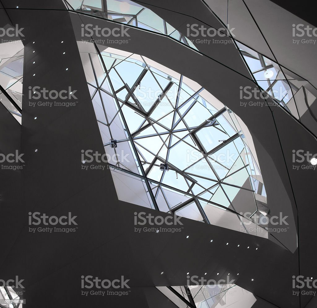 Double exposure of transparent roof. Realistic but not real photo stock photo