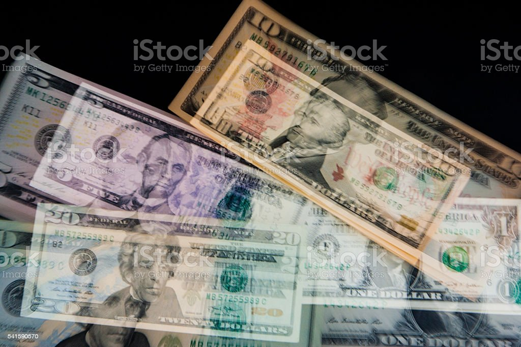 Double Exposure of US banknotes stock photo