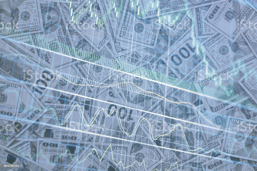 Double exposure of us dollar and graph as banking concept. stock photo