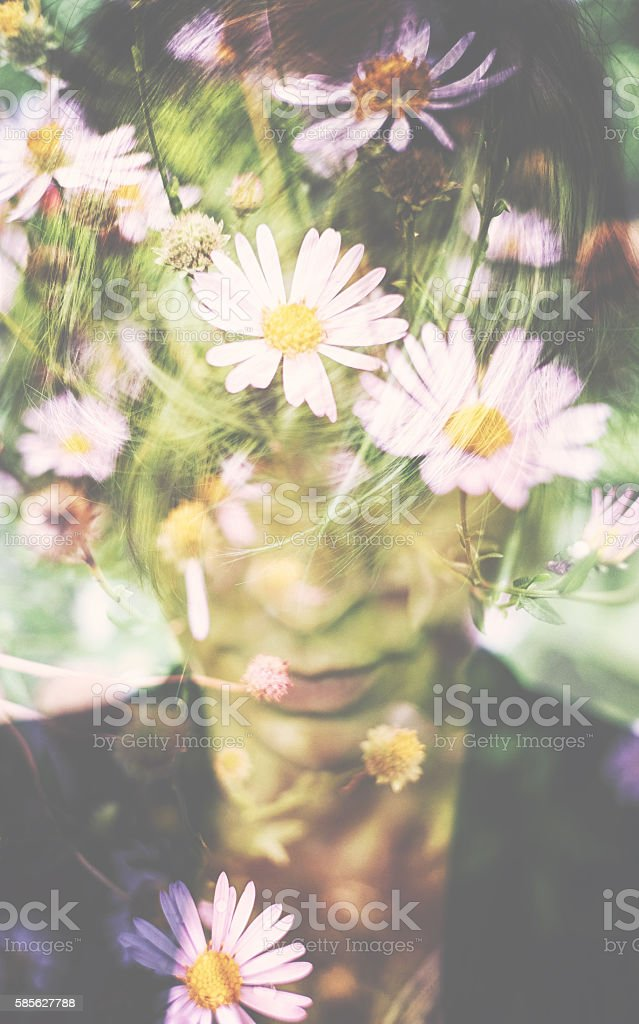 Double exposure of woman with short hair stock photo