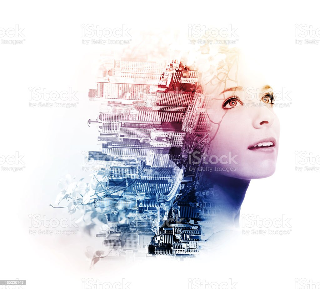 Double exposure of young woman with metropolis and doogwood stock photo