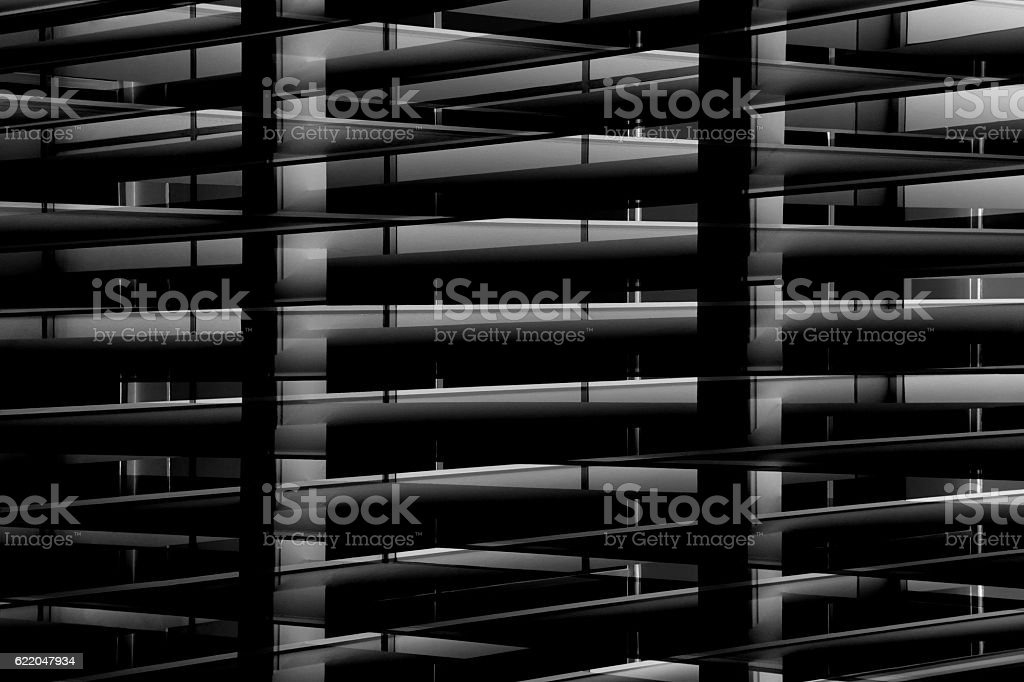 Double exposure photo of backlit industrial interior in the darkness stock photo