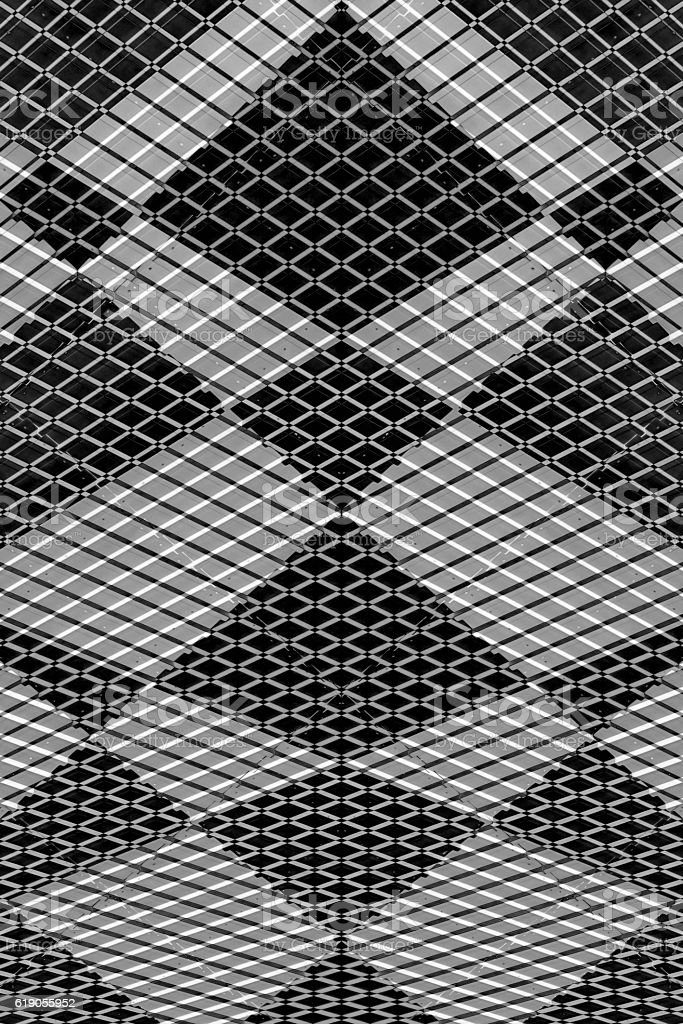Double exposure photo of industrial facility corrugated metal wall stock photo