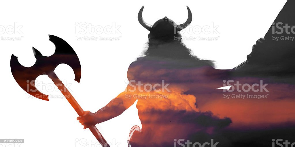 Double exposure portrait of a strong viking stock photo