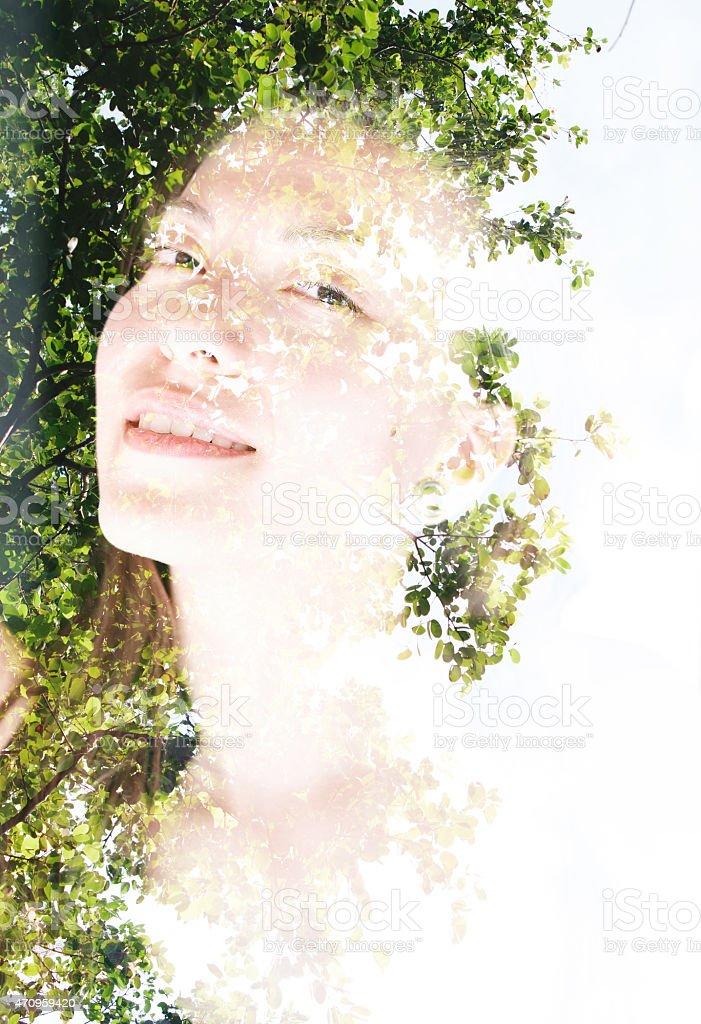 Double exposure portrait of a woman stock photo