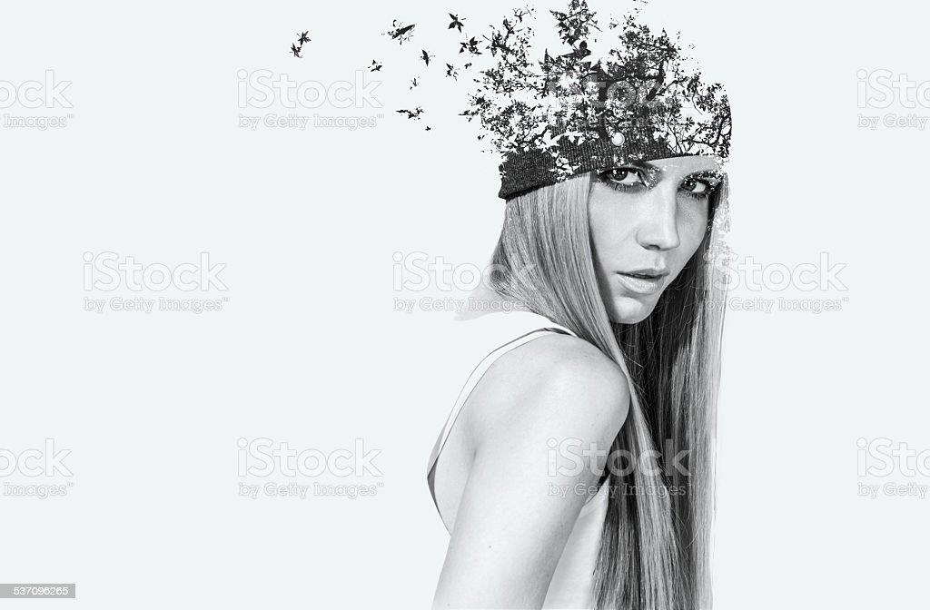 double exposure portrait of attractive girl stock photo