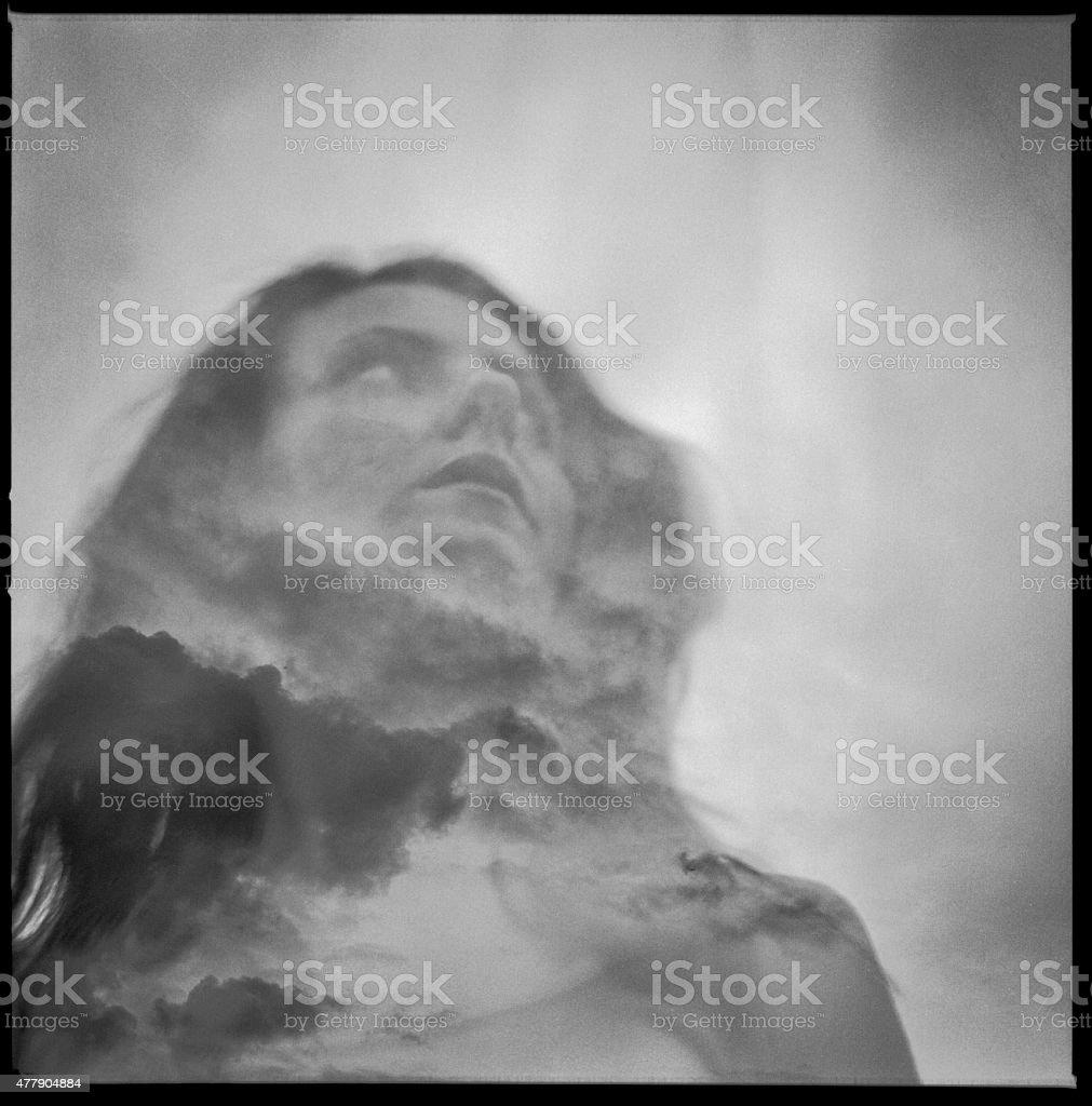Double exposure portrait of beautiful girl stock photo