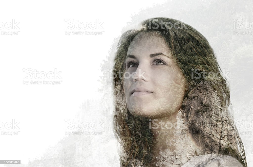 double exposure portrait of beautiful young woman combined with stock photo