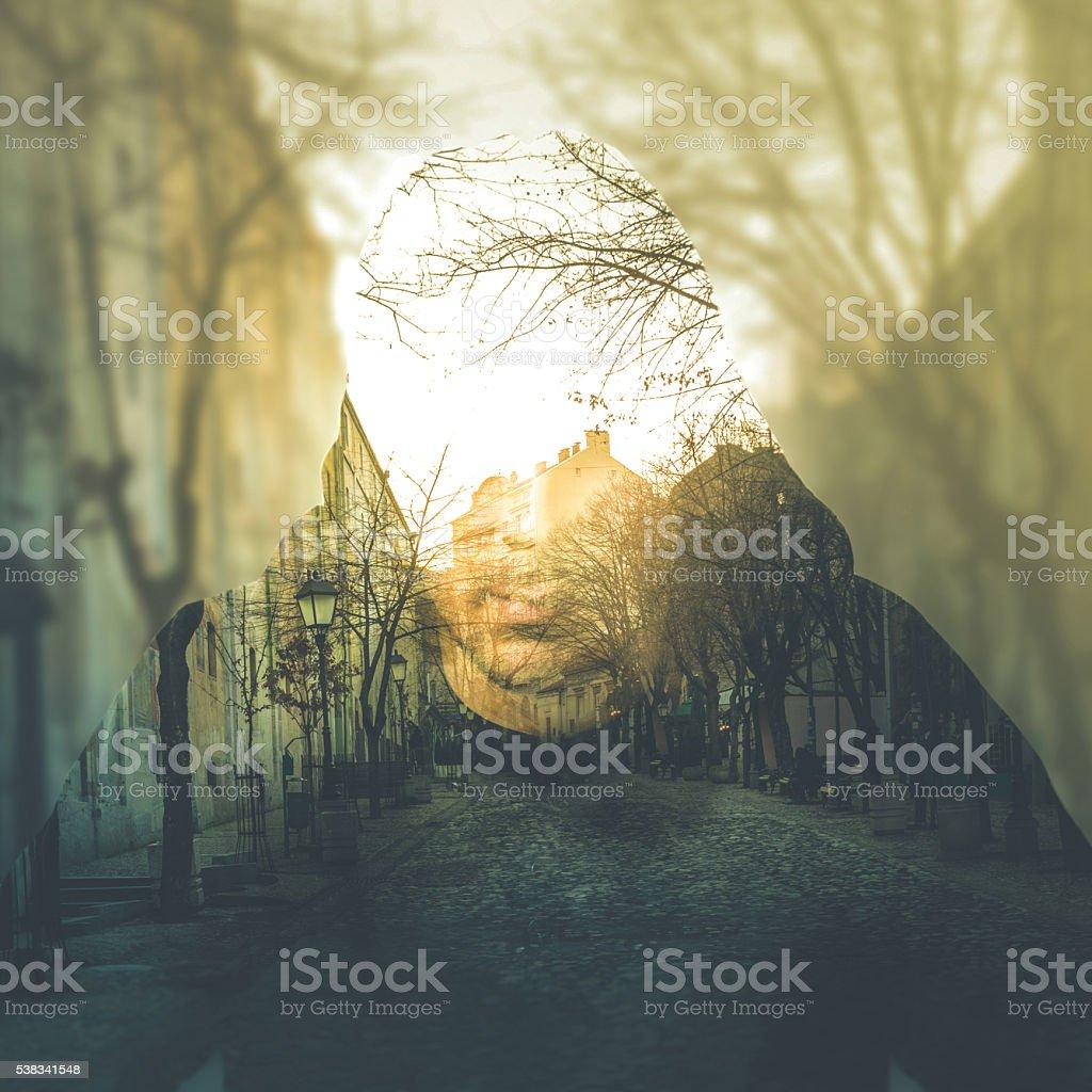 Double exposure portrait of man, imagination concept stock photo